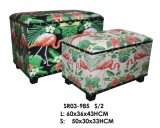2-PC Flamingo Pattern Print Storage Ottoman Bench  Wooden Trunk Living Room Furniture