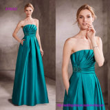 Draped Bodice Flare Evening Dress with Gemstone Embroidery Decorates The Side of The Waist