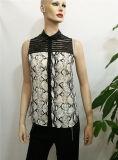 2017 Wholesale Ladies Tops Latest Design Sleeveless Chiffon Leather Patchwork Fashion Blouse Women