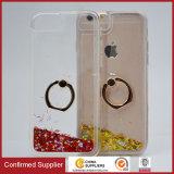 Custom Liquid Sparkle Transparent TPU Ring Holder Phone Cover Universal for iPhone 6 7