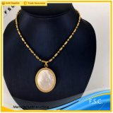 Flat Round Big Stone Crystal Gold Plated Luxury Women Pendant