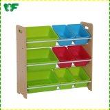 2017 MDF Toy Storage Shelf with 9 Colourful Bins for Kids (F0400)