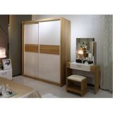 Wholesale White and Wood Grain Interior Wardrobe for Apartment
