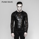 Punk Wholesale Black Mechanical Men Bandage Leather Waistcoat (Y-756)