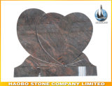 Polised Double Hearts Red Granite Gravestone