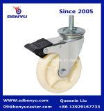 125mm White Nylon Double Bearing Caster with Brake