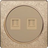 Pattern Design British Standard Two Gang Internet/Telephone Socket Flat