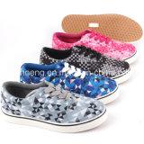 Classic Shoelace Unisex Women Canvas Shoes with Rubber Sole (SNC-49079)