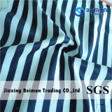 Yarn Dyed 13mm Silk Cotton Voile in White &Black Color Stripe Design