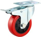 3/4/5 Inch Medium Duty Red PU Castor Wheel with Brake