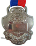 Challenge Medal, Nickel Plated, 3D Logo, Sandblast with Ribbon