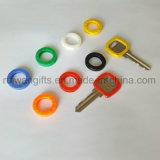 Colorful Round Plastic Key Cap, Key Protective Rings, PVC Elastic Key Caps