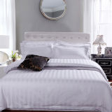 100% Cotton Plain White Luxury Hotel Stripe Bedding Sets