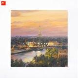 Paris Dusk Art Print Eiffel Tower Oil Painting