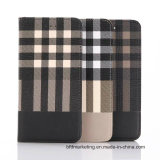 Check Pattern Leather Wallet Cell Phone Case for iPhone