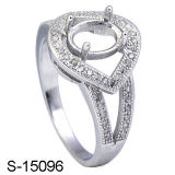 Ring Setting Sterling Silver Four-Prong CZ Women Rings