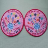 Pink Colours Design Overlocking Clothing Woven Badge