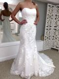 Lace Bridal Formal Gowns Tulle Pleats Lace up Back Wholesale 2017 Wedding Dress Lb1929