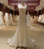 Mermaid Hand-Beaded V Neck Open Back Wedding Dress