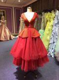 Red Evening Dress for Wedding with Tiered Tulle