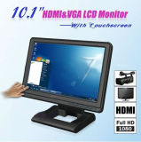 HDMI DVI VGA Input 1024x 600 10.1 Inch Touchscreen Monitor