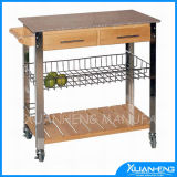 Classic Bamboo Kitchen Trolley for Outdoor