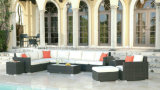 Outdoor Rattan Furniture 9 PCS Sofa Set Lucaya in Black Wicker