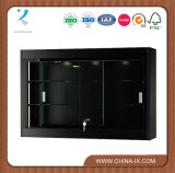 Wall Mounted Display Case Sliding Doors Glass Shelves