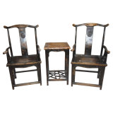 Chinese Antique Wooden Chairs and Table Lwe158