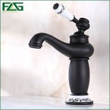 Flg Oil Rubbed Bronze Brass Basin Tap with Flower Lever