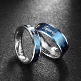 Fashion Cubic Zirconia Stainless Steel Couple Rings Artificial Jewelry