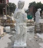 White Marble Garden Lady Sculpture