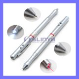Promotion 4 in 1 Multifunction Metal Ballpoint LED Light Laser Pointer Metal Laptop Stylus Pen for Computer 3ds