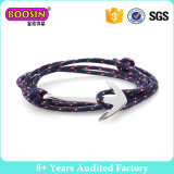Silver Plated Anchor Layer Wrap Rope Anchor Bracelet #B103