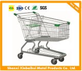 Galvanized and Powder Coated Metal Wier Shopping Cart for Stores