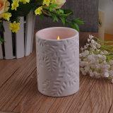 White Flower Patterned Ceramic Candle Holder