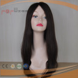 Human Hair Hand Tied Top Dark Brown Color Elegant Full Wig