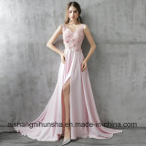 New Luxury Pink Satin Long Evening Dress