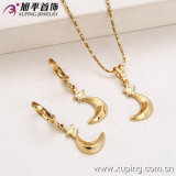 62810 Fashion New Arrival Gold-Plated No Stone Woman Jewelry Set with Star Moon Design