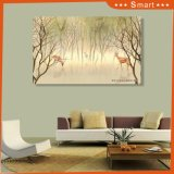 The Spotted Deer Walks and Feeding in The Forest Beautiful Morning Mist Scenery Oil Painting