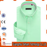 100%Cotton Green Long Sleeve Slim Formal Dress Shirt for Men