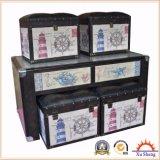 5 PC Linen Print Nesting Storage Ottoman, Coffee Table