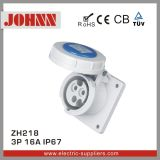 IP67 3p 16A High End Type Straight Panel Mounted Socket for Industrial