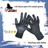 13G Nylon Palm Black PU Coated Gloves.