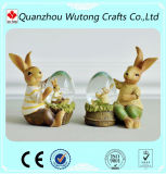 Home Decoration Resin Indoor Animal Rabbit Figurines with Snowball