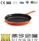 Cast Iron Fry Pan Enamel Coated with Wooden Handle