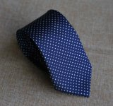 Classic Poly Woven Navy Dots Necktie