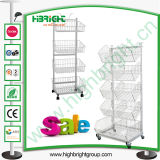 Five Tiers Customizing Wire Basket Display Stand with Wheels