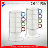 Stack Mug in White Color with Colored Handle