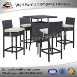 Well Furnir T-096 Water and UV Resistant Synthetic Rattan Weave 5 Piece Square Patio Pub Set